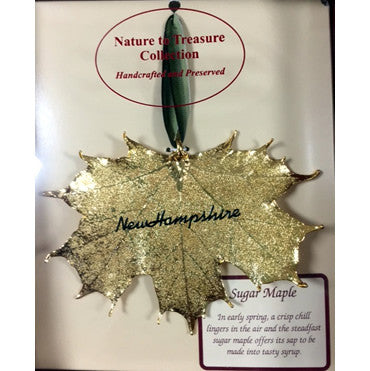 Sugar Maple Leaf Ornament embossed with New Hampshire starting at