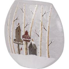 Winter Scene Frosted Glass Vase