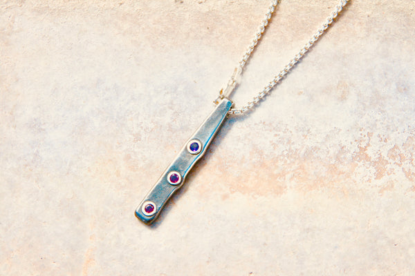 Steel Pendant Necklace with Amethyst and Rhodolite Garnets