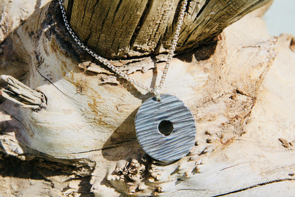 Forged Disc Pendant Necklace