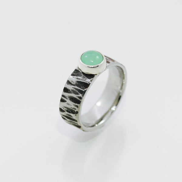 Chrysoprase Ring | Bark texture band
