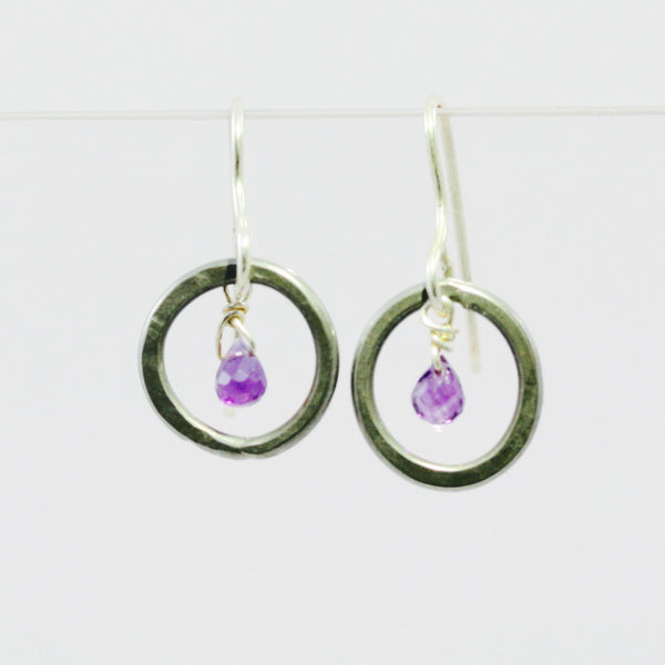 Small Hoop Earrings with Briolette Amethysts