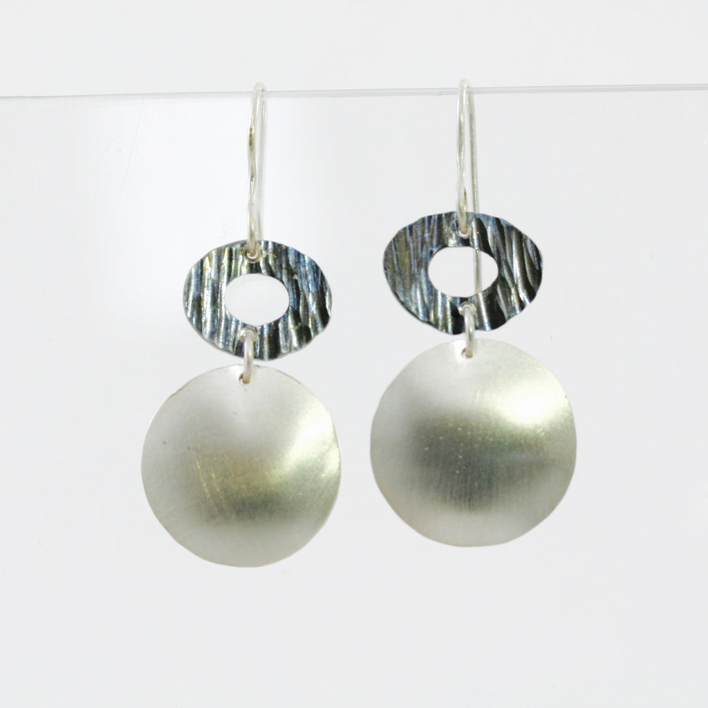 Stainless Steel & Silver Disc Earrings