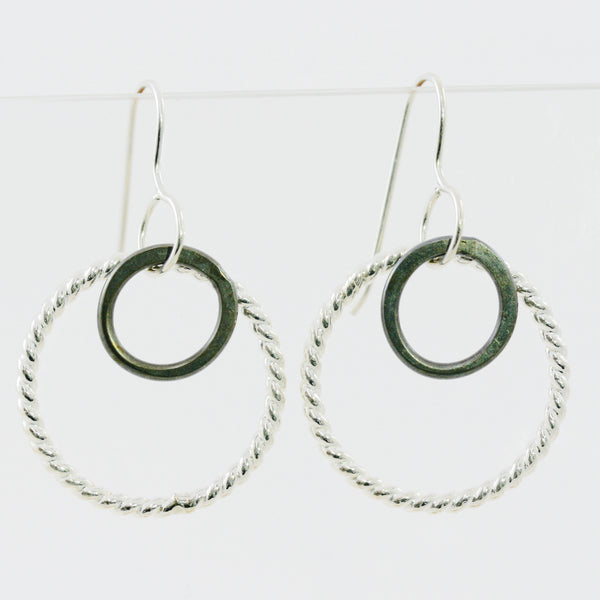 Double Hoop Earrings with Rope Pattern Sterling Silver Hoop