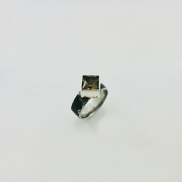 Smokey Quartz Princess Cut Ring