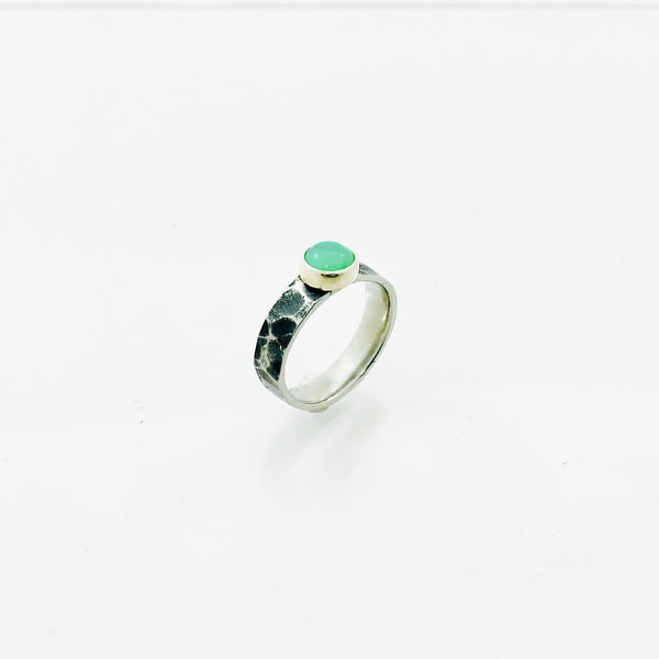 Chrysoprase Ring | Planished texture band