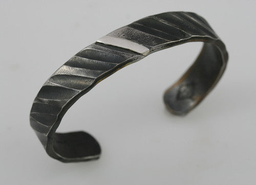 Wide Rope Pattern Cuff Bracelet With Sterling Silver Inlay: Men & Women
