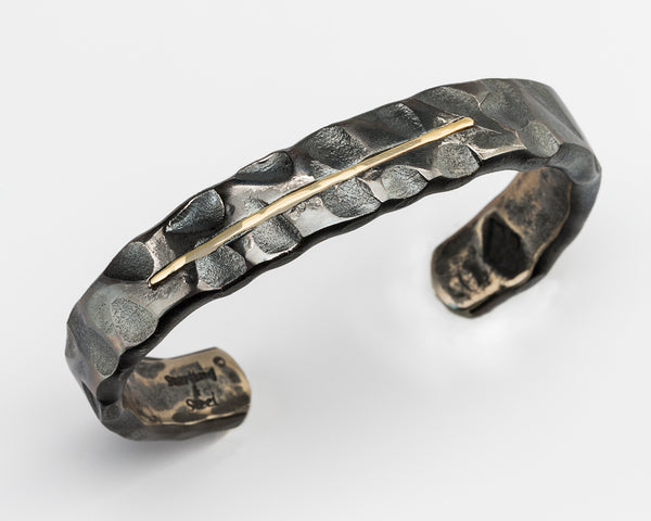Wide Random Pattern Cuff Bracelet with 18K Gold Inlay: Men & Women