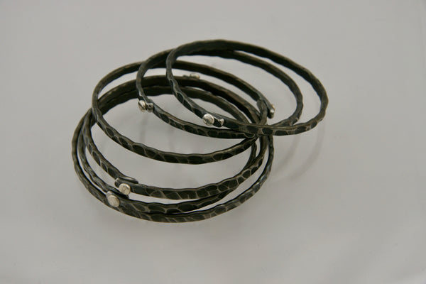 Bangle Bracelets with Silver Rivet