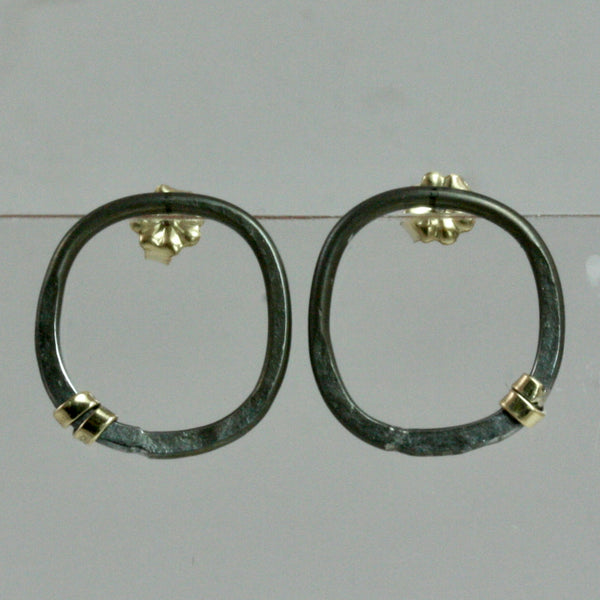 Square Post Earrings with 18K Gold Star Wrap