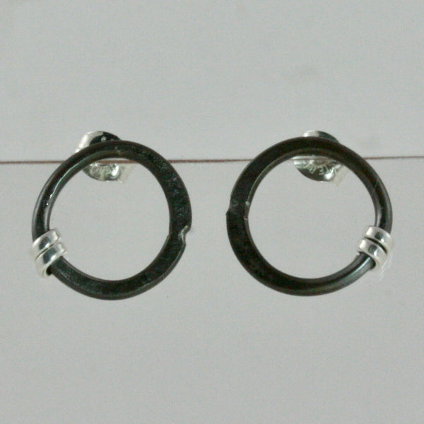 Small Circle Post Earrings with Sterling Silver Wrap