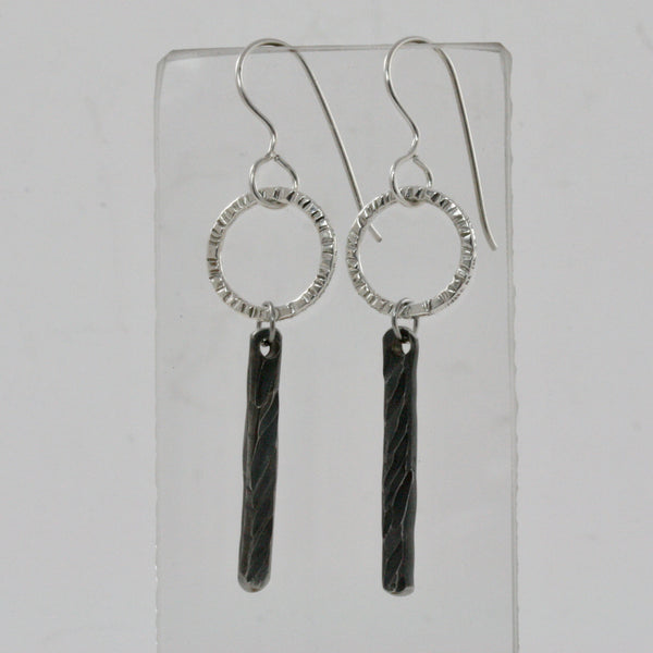 Sterling Silver Circle Earrings with Stainless Steel Bar