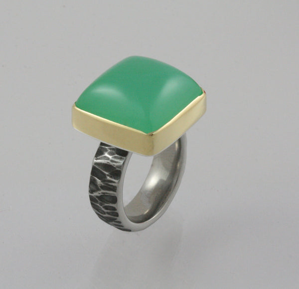 18K Gold and Stainless Steel Chrysoprase Ring