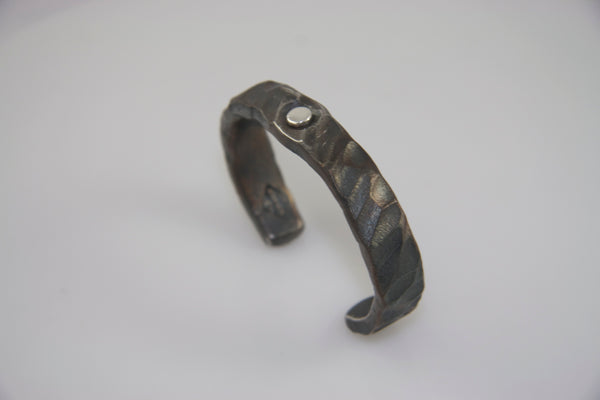 Wide Silver Rivet, Random Pattern Cuff: Men & Women