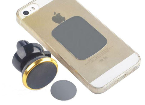 SuperMagnetMan Magnetic Vent Mount provides a strong magnetic hold for your phone.  Great travel companion with strong neodymium magnets.