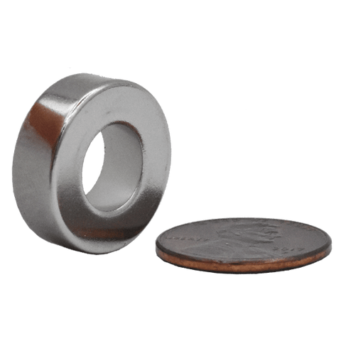 SuperMagnetMan Neodymium Ring Magnet.  Used as medical magnets, motor magnets, sensor magnets, consumer electronics magnets.  These ring magnets are strong rare earth neodymium magnets also used as automotive magnets.  www.supermagnetman.com