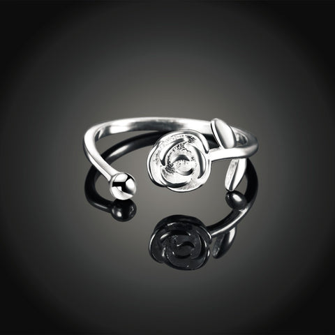 Chic 100% Solid 925 Sterling Silver Adjustable Romantic Rose Ring