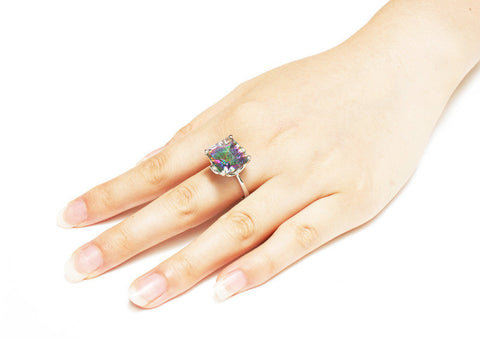 Gorgeous 10.4ct Natural Mystic Topaz Ring
