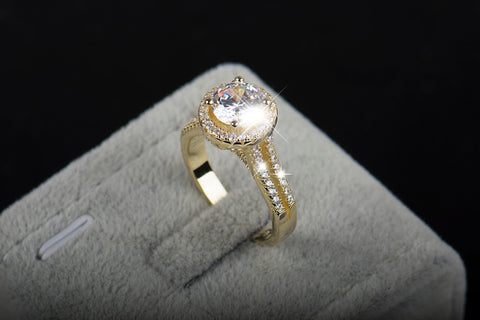 Real 925 Sterling Silver Classic Engagement Wedding Ring