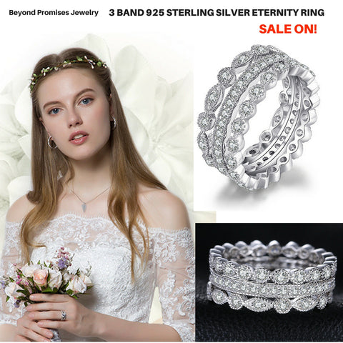 3 Band 2.15ct CZ  Eternity Ring in Pure 925 Sterling Silver (US 5-9,  UK J1/2-S)