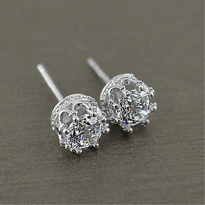 **FREE** Women's Fashion 925 Sterling Silver Royal Stud Cubic Zirconia Earrings