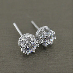 Women's Fashion 925 Sterling Silver Cubic Zirconia Royal Stud Earrings