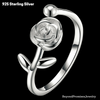 Image of Chic 100% Solid 925 Sterling Silver Adjustable Romantic Rose Ring