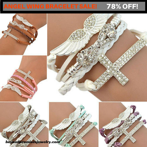 New Handmade Cross Infinity Angel's Wing Charm Bracelet- FREE SHIPPING!