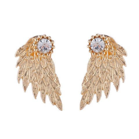 Gorgeous Vintage Angel Wings Crystal Stud Earrings