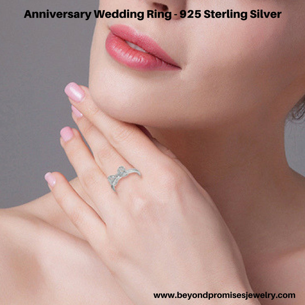 Beautiful Anniversary Wedding Ring in Solid 925 Sterling Silver ...