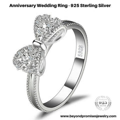 Beautiful Anniversary Wedding Ring in Solid 925 Sterling Silver