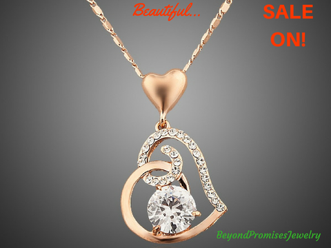 Rose Gold Stellux Austrian Crystal Heart Pendant Necklace