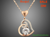 Image of Rose Gold Stellux Austrian Crystal Heart Pendant Necklace