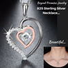 Image of Genuine 925 Sterling Silver Double Heart Necklace With 0.3 ct Movable AAA CZ