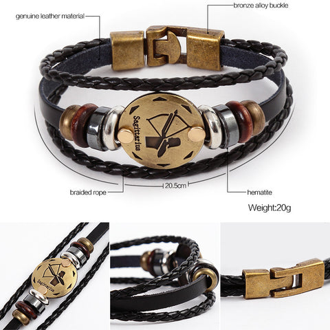 Vintage Zodiac Signs Black Leather Unisex Bracelet