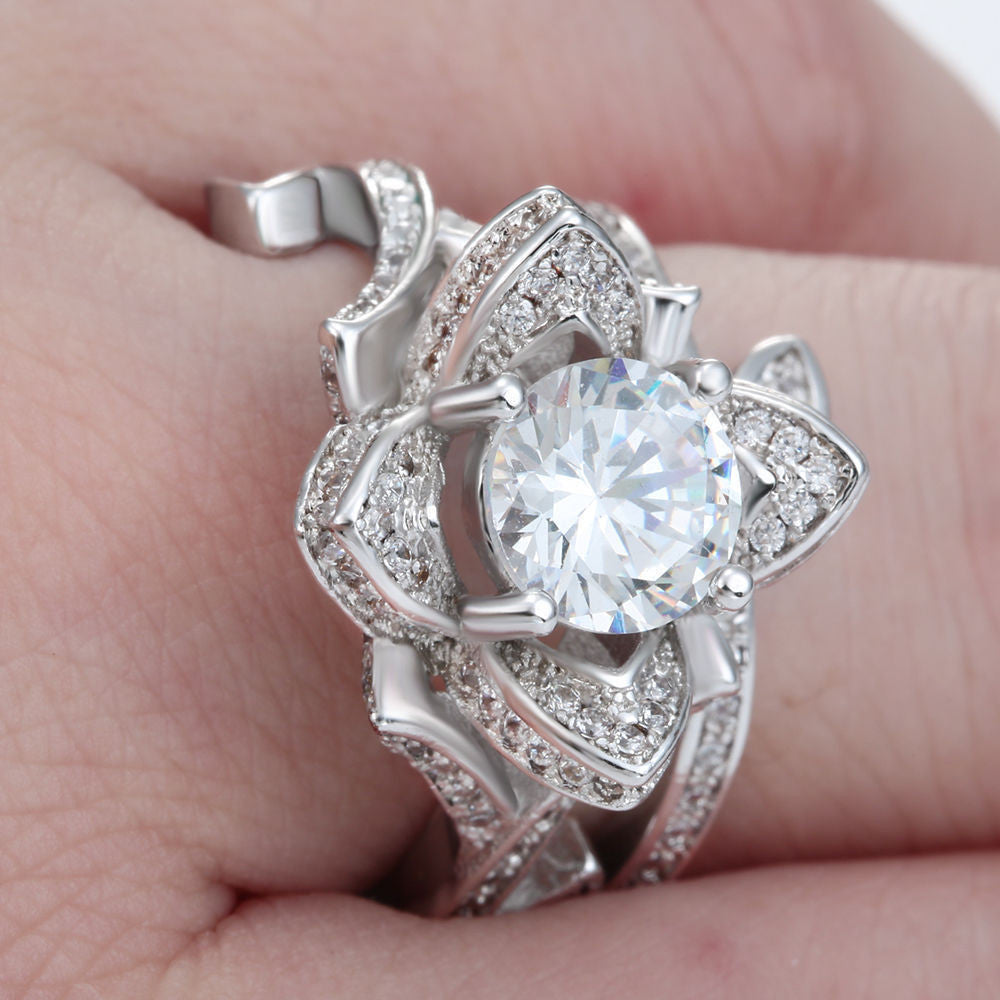 lotus sterling zirconia cubic jewellery flower engagement ring image womens silver rings ladies