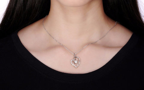 Genuine 925 Sterling Silver Double Heart Necklace With 0.3 ct Movable AAA CZ