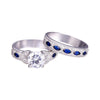 Image of Deluxe 2-Pcs Solid 925 Sterling Silver CZ & Sapphire Wedding Engagement Rings