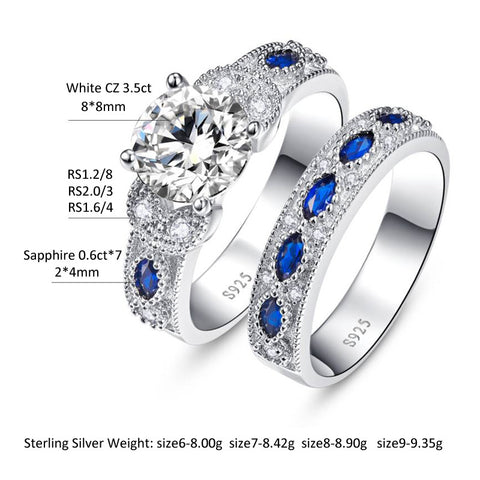 Deluxe 2-Pcs Solid 925 Sterling Silver CZ & Sapphire Wedding Engagement Rings