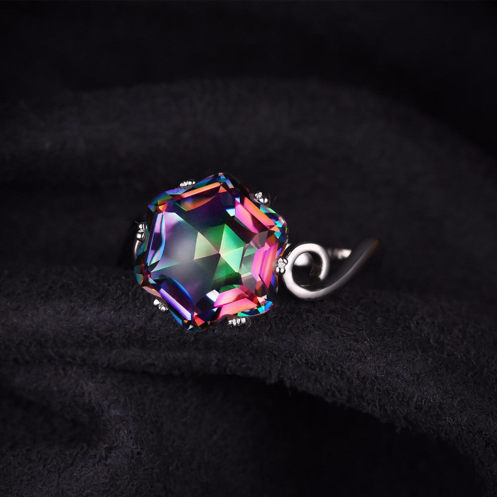 jewellery natural sterling silver rainbow fire genuine topaz rings ring mystic