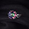Image of 5.7ct Genuine Rainbow Fire Mystic Topaz Ring In Solid 925 Sterling Silver