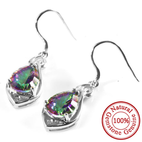 Genuine Angel Tear Drop 6.8ct Rainbow Topaz Earrings Pure 925 Sterling Silver