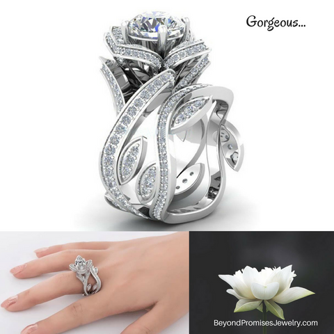 Gorgeous Silver/ Gold Lotus Flower White Topaz Ring Set