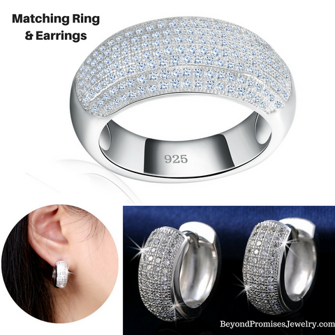 New Style Luxury Austrian CZ Crystal Matching Ring & Earrings