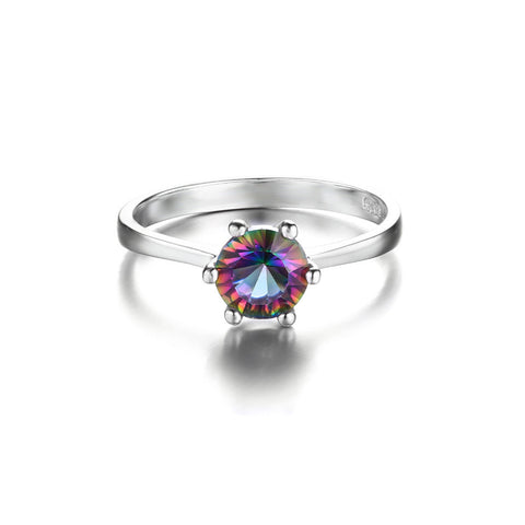 1 ct Genuine Brazilian Rainbow Fire Mystic Topaz Ring In Solid 925 Sterling Silver
