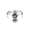 Image of 1 ct Genuine Brazilian Rainbow Fire Mystic Topaz Ring In Solid 925 Sterling Silver