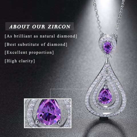Elegant 925 Sterling Silver Water Drop Women Necklace