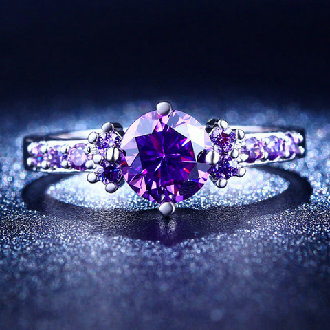 ***FREE*** Luxury Vintage Amethyst CZ Diamond Ring (US 5-10, UK J1/2-T1/2)