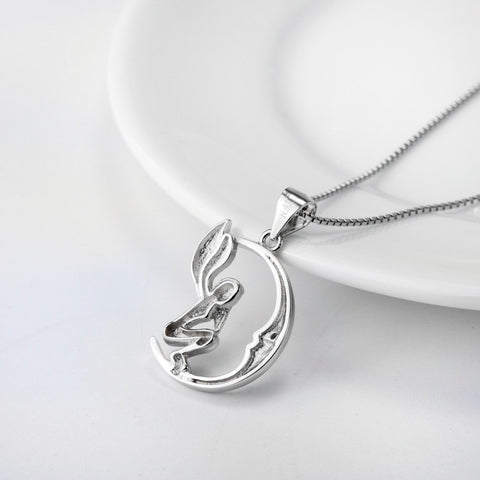 925 STERLING SILVER SILVER MOON ANGEL FLOATING PENDANT