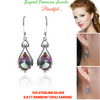 Image of Genuine Angel Tear Drop 6.8ct Rainbow Topaz Earrings Pure 925 Sterling Silver